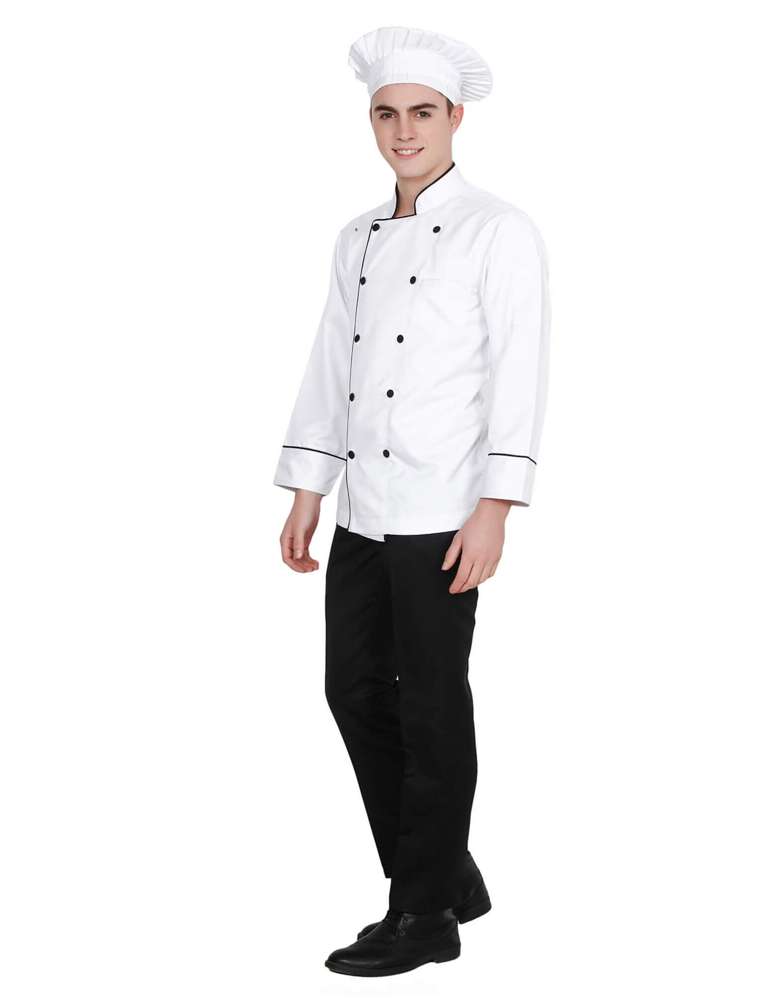 Buy White Chef Coat With Black Piping For Men Online