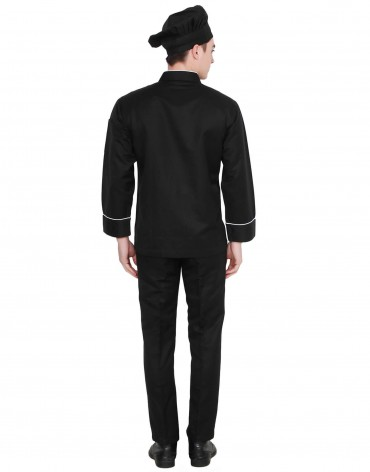 Black Chef Coat With White Pipin For Men
