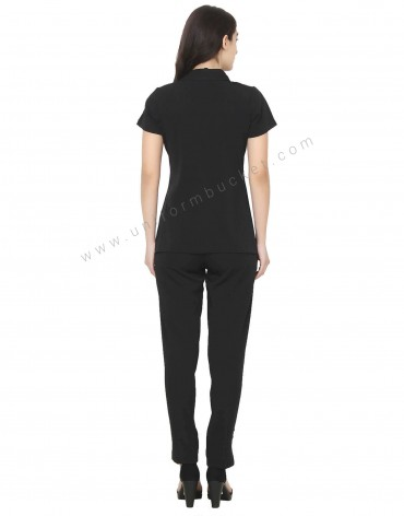 Single Button Black Tunic With Golden Trim