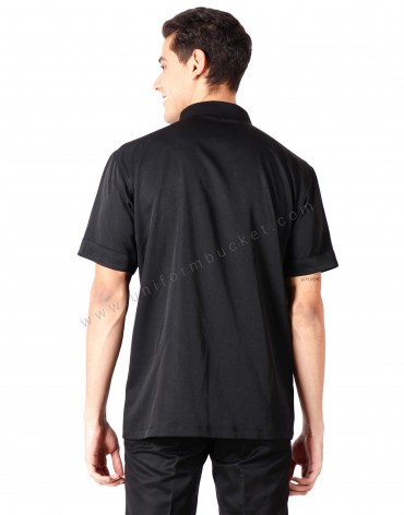 Notched Collar Black Shirt