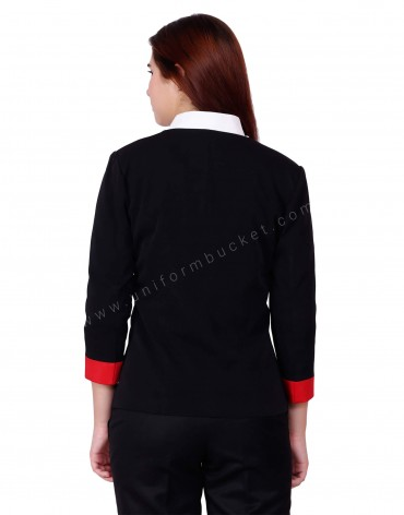 Black & Red Corporate Blazer For Women