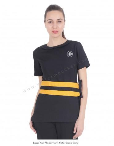 Black Tunic With Mustard Pattern Belt