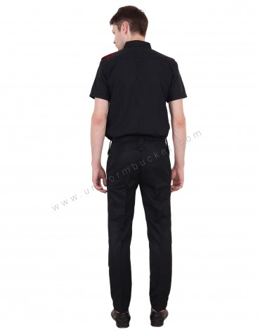 Black With Red Security Guard Shirt For Men