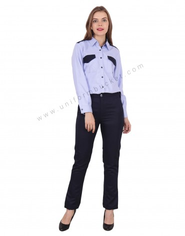 Blue & Navy Blue Security Guard Shirt For Female