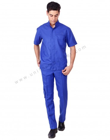Blue Workwear Shirt With Band Collar For Men