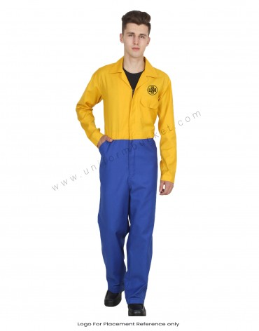 Hidden Zip Blue And Yellow Coverall