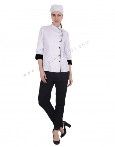 Chef Jacket In 3- 4th Sleeve For Women