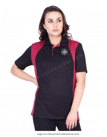 Black & Maroon Dry Fit Polo T shirt