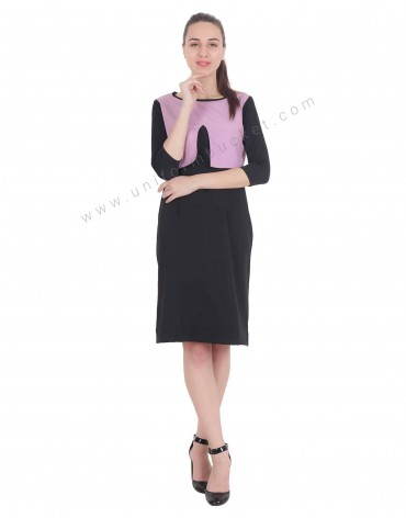 Formal Black Stylish Dress With Purple Pattern For Women