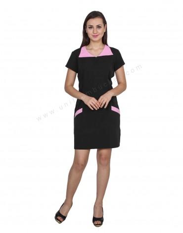Formal Uniform Dress With Pink Pattern