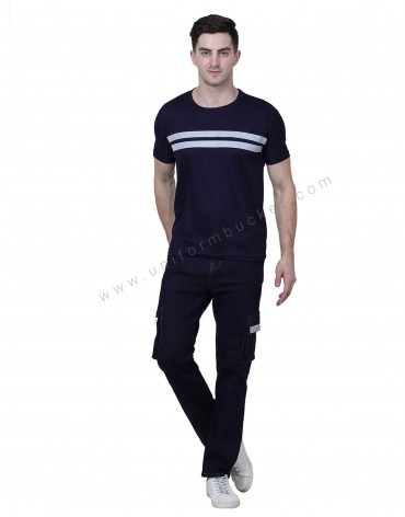 Navy Blue Double Stripe High Visibility T Shirt