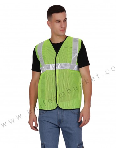 Net Safety Vest With Broad Visibility Stripes