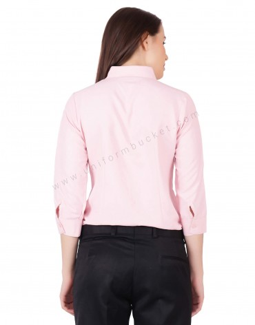 3/4th Sleeve Formal Pink Shirt