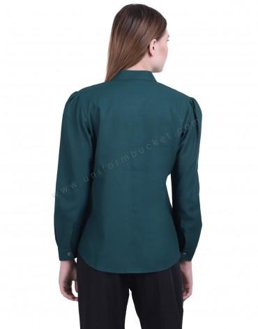 Bottle Green Formal Shirt With Ruffles