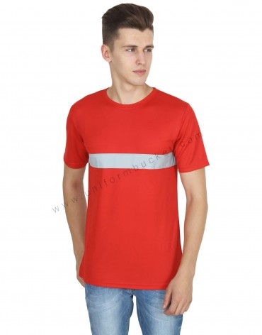 Red Round Neck Hi- Visibility T- Shirt
