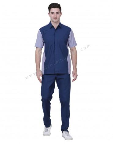 Blue And Grey Workwear Shirt