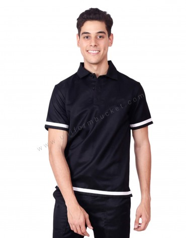 Polo Neck T Shirt With White Trims
