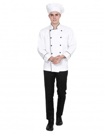 White Chef Coat With Black Piping For Men