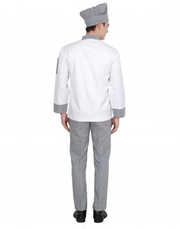 White Chef Coat With Check Pattern For Men