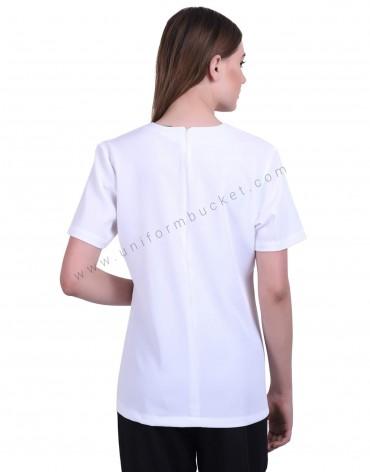 White Stylish Crossover Neck Tunic