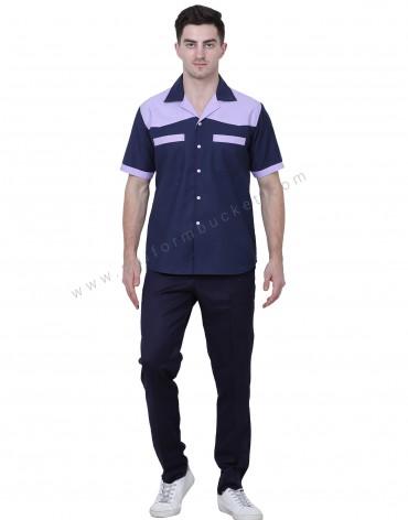 Lapel Collar Navy Blue Shirt With Grey trims